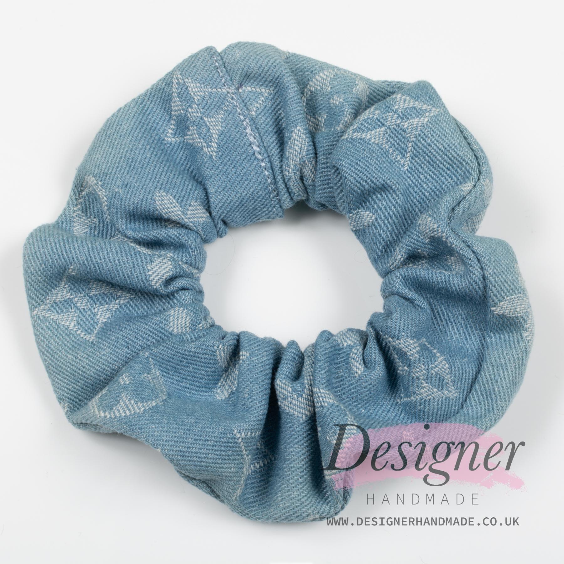 Green and Blue Denim Scrunchie