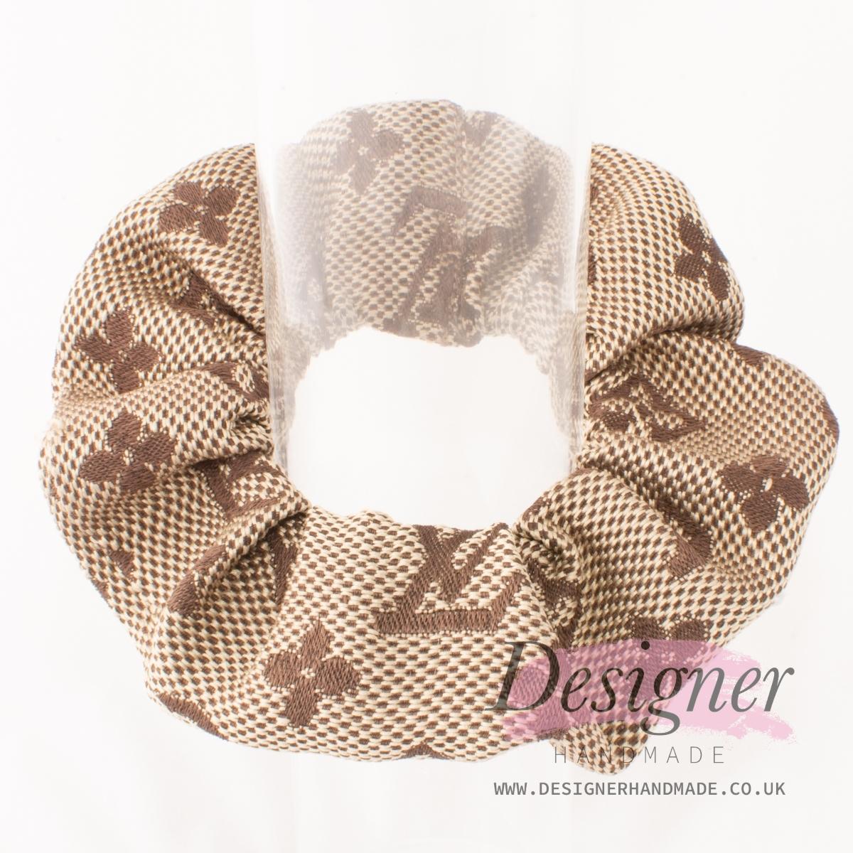 Louis Vuitton Inspired Brown Scrunchie